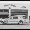 M.A. tires on Nels Thompson preaching car, Southern California, 1930