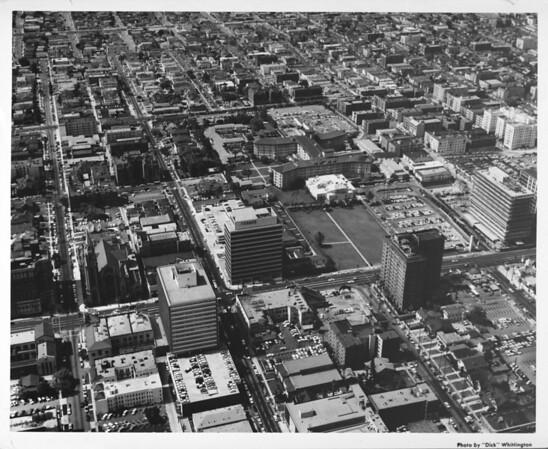 Koreatown, Ambassador Hotel, Wilshire Boulevard, Texaco Building, Kenmore Street, Catalina Street, (aerial view facing south)