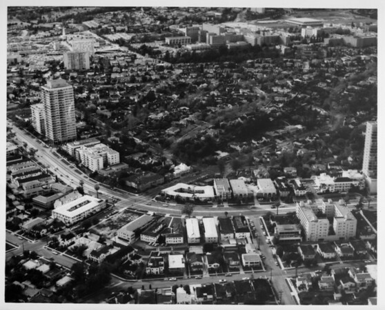 Aerial view facing north over Westwood and University of California at Los Angeles (UCLA) at Wilshire Boulevard and Westholme Avenue