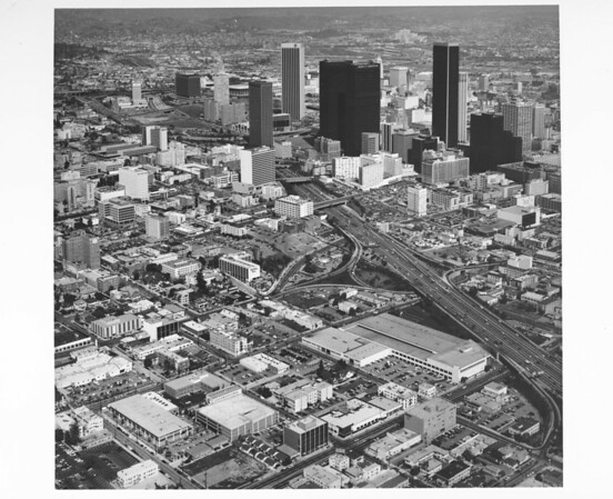 Aerial view of downtown from the Harbor Freeway looking north from Eighth Street