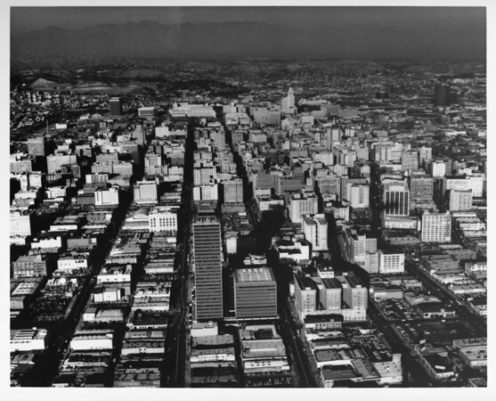 Aerial view, Downtown Los Angeles, Civic Center, Music Center, Water & Power Building, Bunker Hill, Olive Street