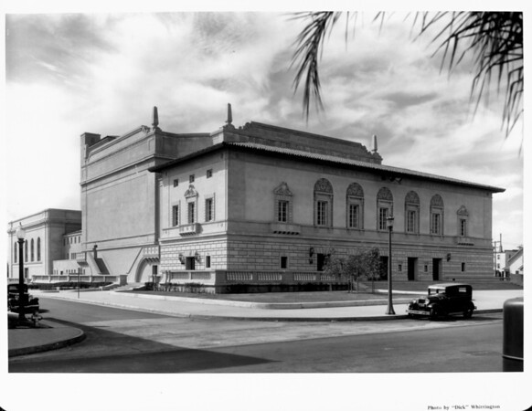 A corner view of the Pasadena Civic Auditorium