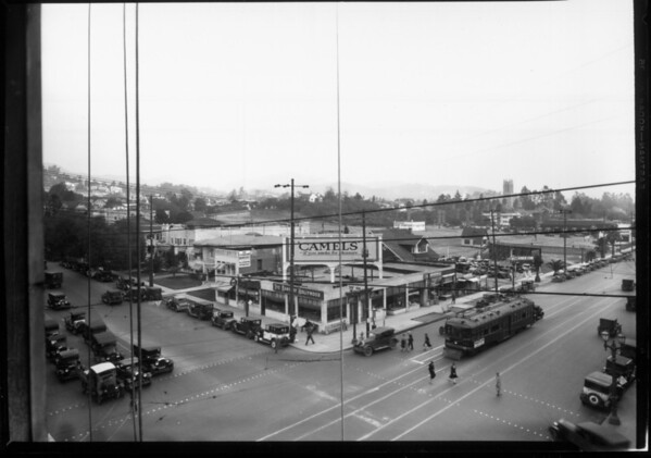 A high-angle view of the corner of Hollywood Boulevard and Vine Street
