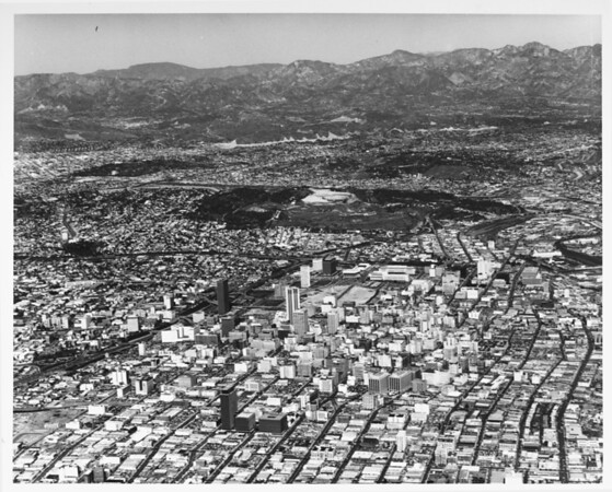 Aerial view of downtown Los Angeles looking north toward Dodger Stadium from Pico Boulevar