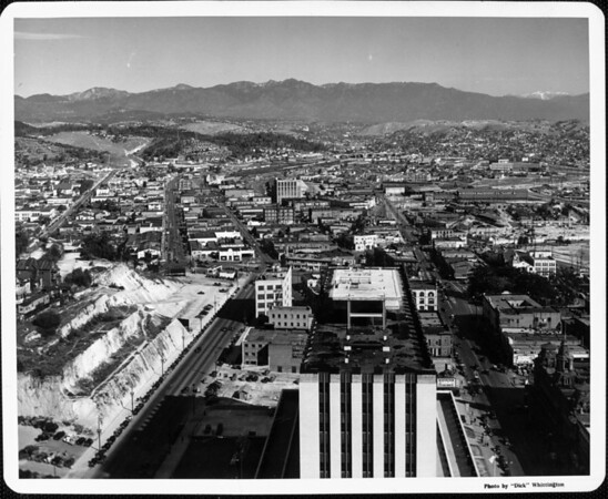 A panoramic view towards the industrial district north of downtown Los Angeles
