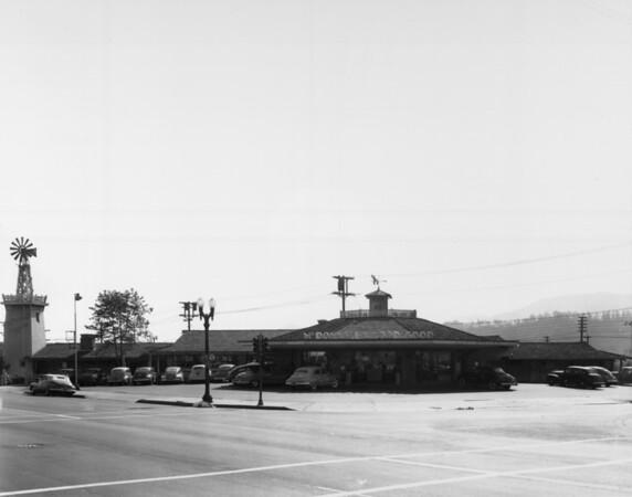 A facade of the McDonnels Good Food Restaurant seen from a street corner