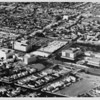 Aerial view facing northwest over Wilshire Boulevard and Orange Grove Avenue