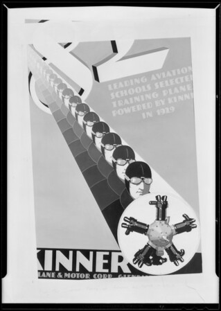 Poster of heads and motor in circle, Kinner, Southern California, 1930