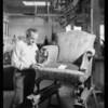 Retake on man building chair, Southern California, 1930