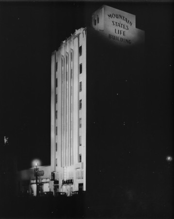 The Mountain States Life Building at night, in Downtown Los Angeles