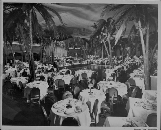 The inside of the Zebra Room has a stage and palm trees that reach the ceiling, Los Angeles, 1945