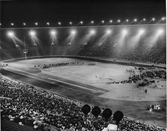 Night scene of a rodeo at Coliseum