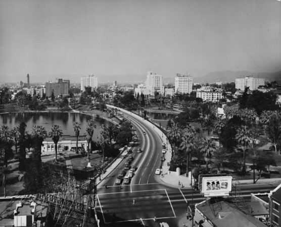 Aerial view of MacArthur Park facing west from the corner of Wilshire Boulevard and Alvarado Street