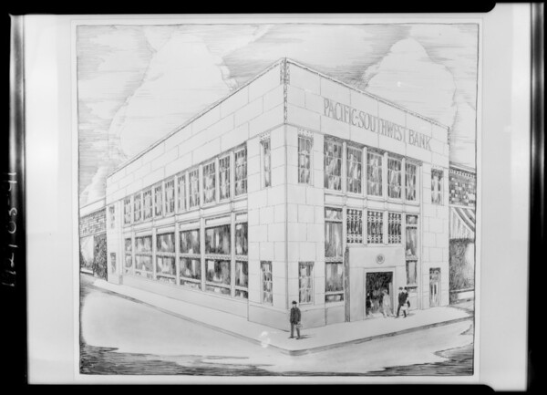 Architects drawing of Pacific-Southwest Bank building, Southern California, 1927