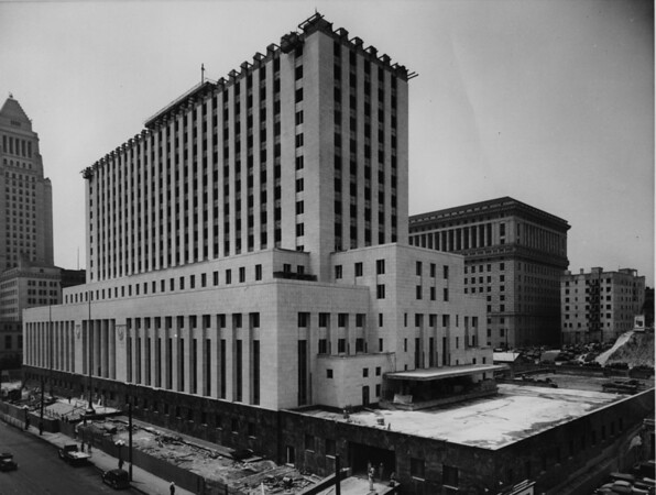Government building in Civic Center under construction, City Hall in view