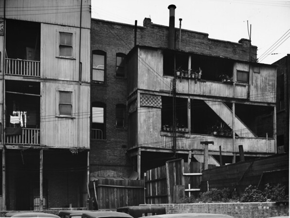 Poverty-stricken living quarters near Civic Center in downtown Los Angeles, ca.1920-1940