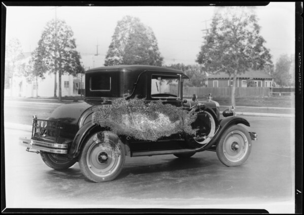 Chevrolet coupe with mirrors, Southern California, 1928