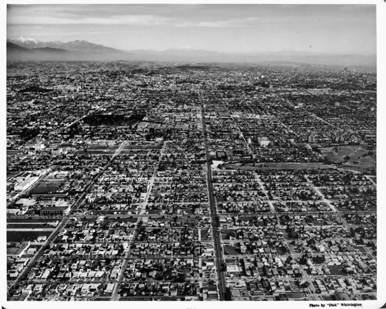 Aerial view looking east down Melrose Avenue from La Brea Avenue