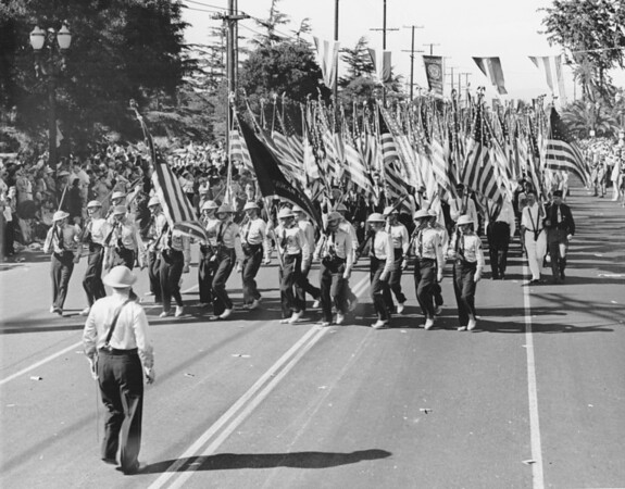 The American Legion Color Guard with U.S. flags in the American Legion Parade