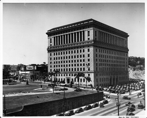 In the Civic Center in Downtown Los Angeles facing north towards the Hall of Justice