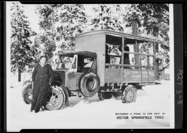 Piano truck in snow, copy for enlargement, Southern California, 1927