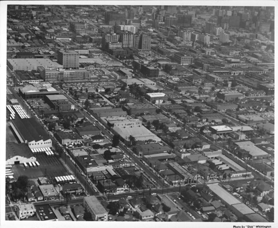 Aerial view of Downtown Los Angeles looking north-west and showing the Los Angeles Herald-Examiner Building on the very top at center