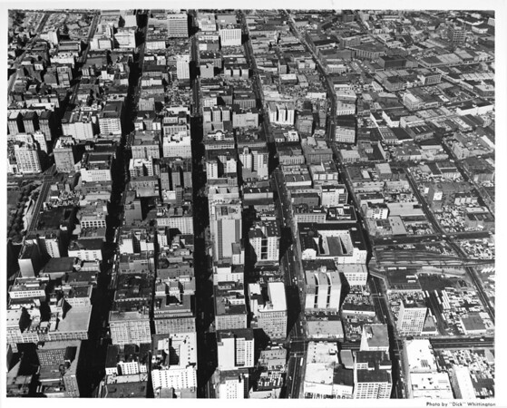 Aerial view of downtown Los Angeles looking north from Seventh Street