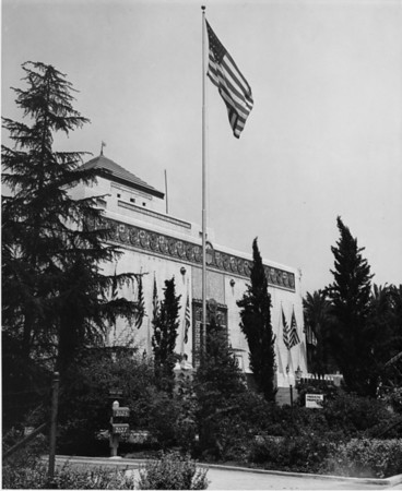 American Legion Post 43 foregrounded by the American flag