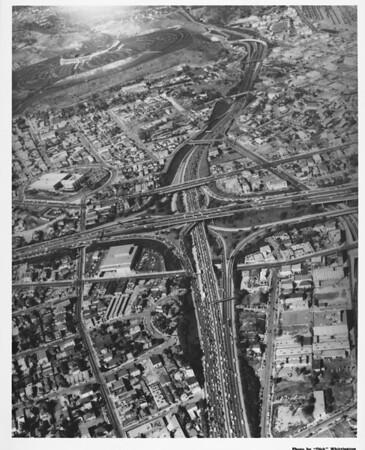 Aerial view of I-110 and I-101 freeway interchange, Dodger stadium