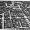 Aerial view of Leimert Park on Crenshaw Boulevard and Vernon Avenue