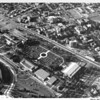 Aerial view of the Botanical Gardens in Exposition Park, University of Southern California (USC) campus