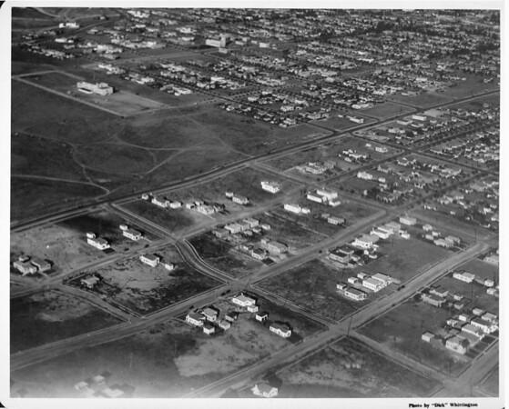 Aerial view of Los Angeles, Baldwin Hills, View Park, Culver Judicial Township