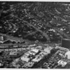 Aerial view facing north over the corner of Wilshire Boulevard and Santa Monica Boulevard in Beverly Hills