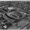 Aerial view facing east over the Coliseum and Sports Arena in Exposition Park in Central Los Angeles
