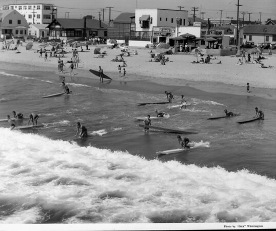 Surfers at a beach in Venice