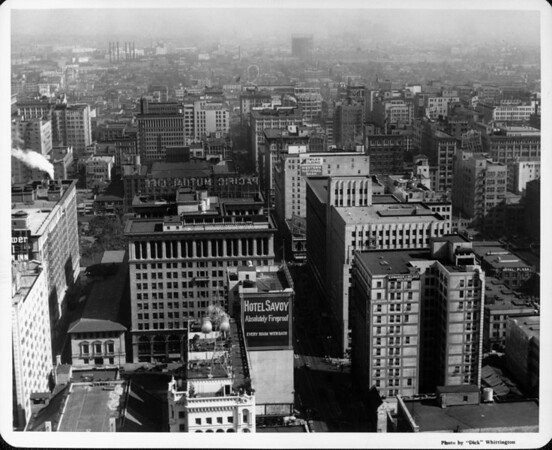 Buildings in downtown Los Angeles including: Hotel Savoy, Detwiler Building, Western National Bank, Pacific Mutual Life, Edwards & Wildey Building