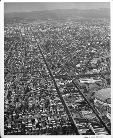 Aerial view looking north on Vermont Avenue, Coliseum