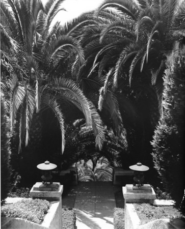 Lanterns and palm trees lining a path through the Japanese gardens in Hollywood