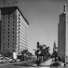 Looking east on Wilshire Boulevard at the Gaylord Apartments and the entrance to the Ambassador Hotel