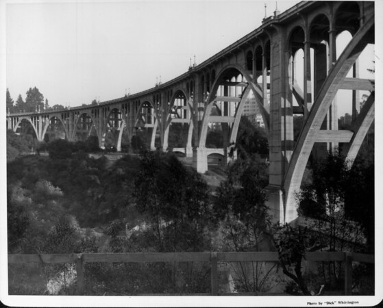 A low-angle view of the Pasadena Bridge