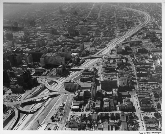 Aerial view, Harbor Freeway, Downtown Los Angeles, facing south