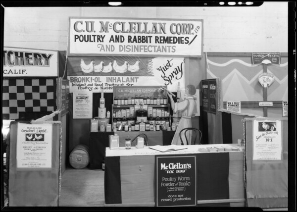 Booth at poultry show, C.U. McClellan, 2424 Enterprise Street, Los Angeles, CA, 1930