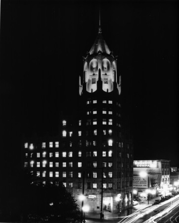 A night view of the Los Angeles First National Bank building, ca.1910-1935