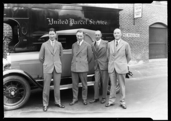 Tires on United Parcel Service delivery trucks, Southern California, 1928