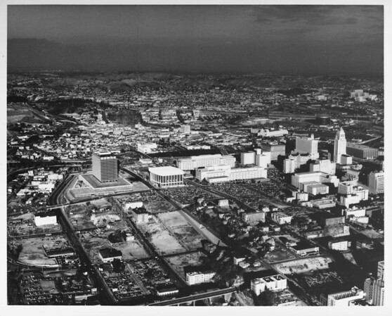 Aerial view, Los Angeles Civic Center, Bunker Hill Clearing, Dorothy Chandler Pavillion, City Hall, Los Angeles Music Center (Mark Taper Forum and Ahmanson Theater (under construction))