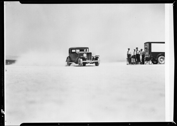 Retouched photos of dry lake, Auburn pictures - 76 gas, Southern California, 1932