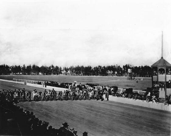 Cyclists on a racetrack