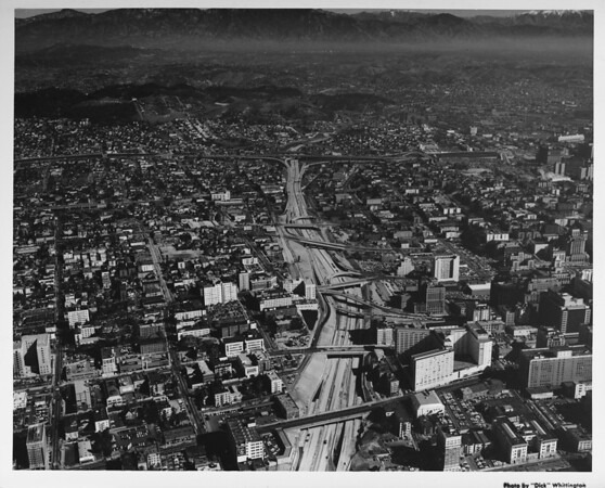 Downtown Los Angeles, Harbor Freeway, aerial view facing north