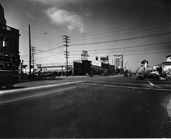 Wilshire Boulevard and Sycamore Avenue facing west towards La Brea Avenue