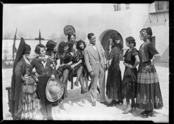 Fiesta scene, Mission play, Mission San Gabriel Arcángel, San Gabriel, CA, 1927